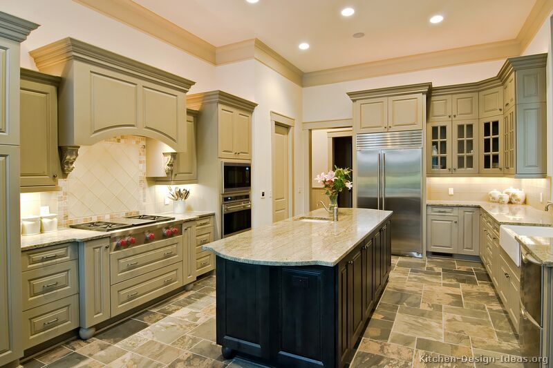 Pictures of kitchens traditional green kitchen cabinets for Grey and green kitchen