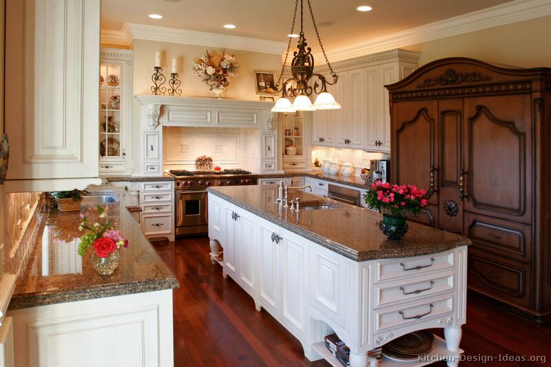 Antique Kitchens Pictures and Design Ideas : kitchen cabinets traditional two tone 006 s13499080 antique white wood hood island luxury from www.kitchen-design-ideas.org size 800 x 533 jpeg 75kB