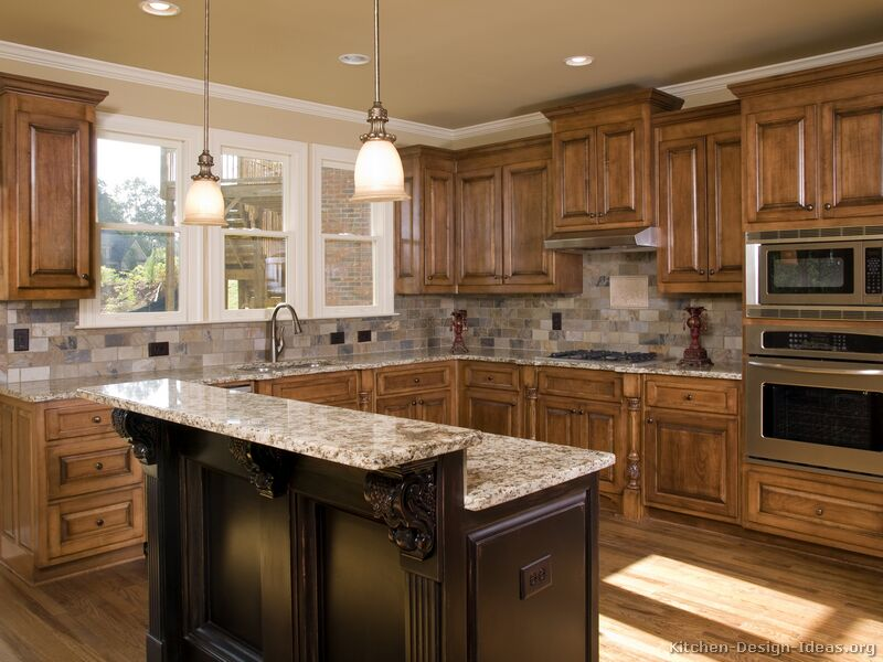 Pictures of kitchens traditional medium wood cabinets for Kitchen island designs
