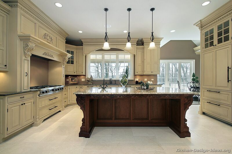 Pictures of kitchens traditional off white antique for Classic kitchen paint colors