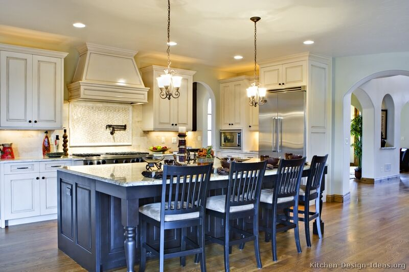 Pictures of kitchens traditional two tone kitchen cabinets - White kitchen with dark island ...