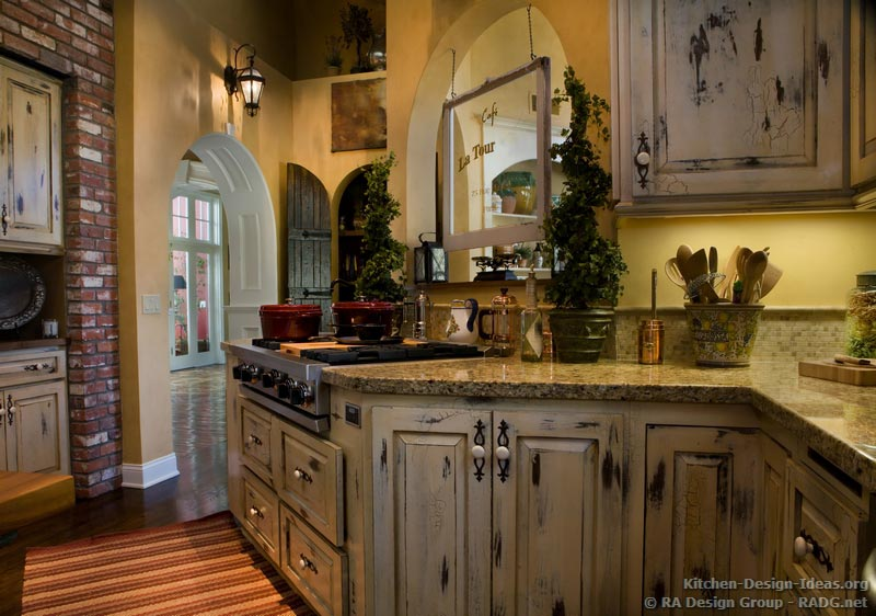 Rustic French Country White Kitchen Cabinets