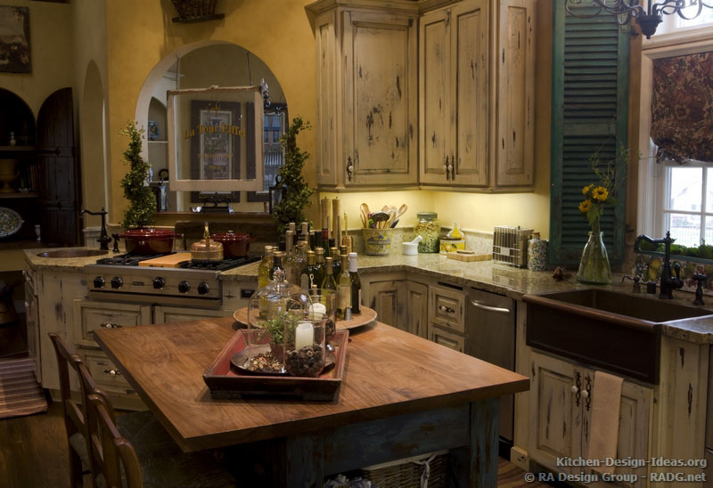 Country French Kitchen Cabinets with an Antique White Crackle Finish