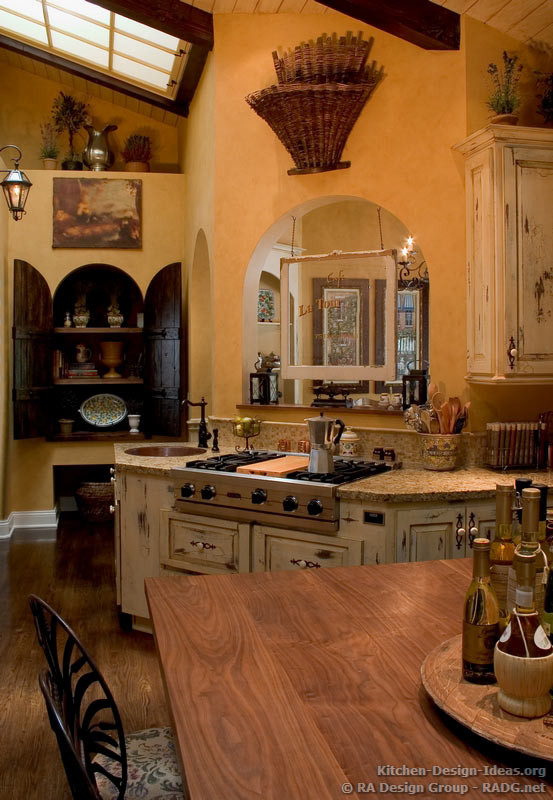 Country french kitchen cabinets with an antique white for Old country style kitchen
