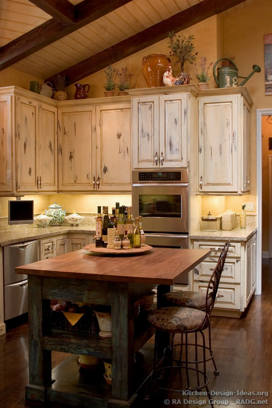 French country kitchen with antique island cabis decor - inspiring