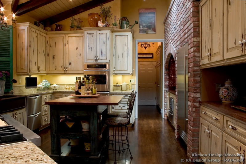 French Country Kitchen With Antique Island, Cabinets & Decor