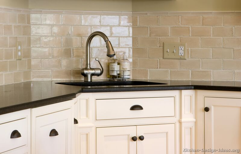antique beige subway tile sink backsplash - Kitchen Backsplash Design Ideas