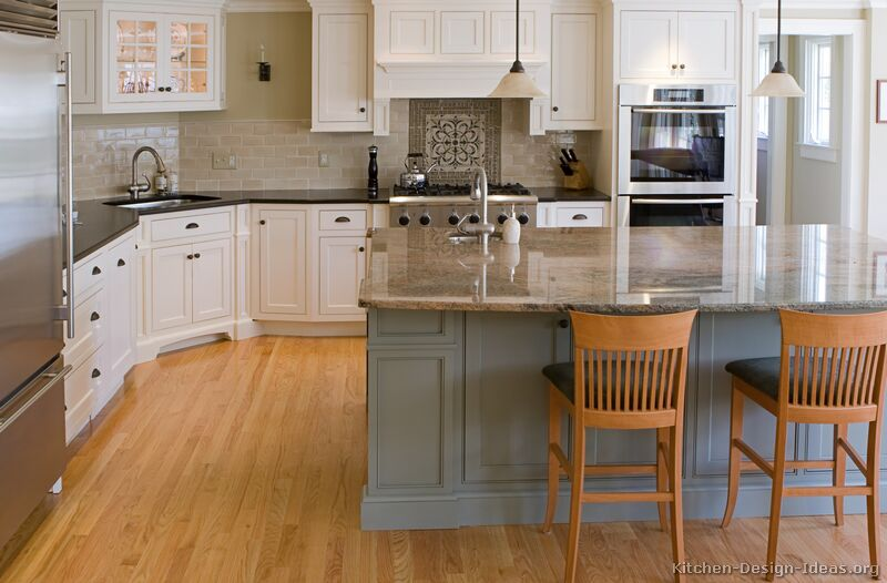 Pictures of kitchens traditional two tone kitchen for Different kitchen island designs