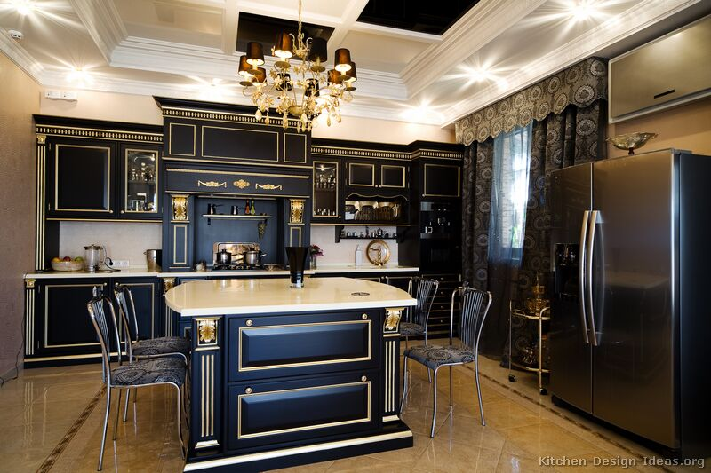 Pictures of kitchens traditional black kitchen cabinets for Black kitchen cabinet design ideas