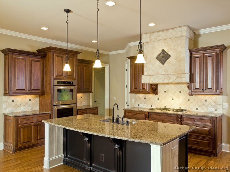 Pictures of kitchens traditional two tone kitchen for Kitchen ideas brown cabinets