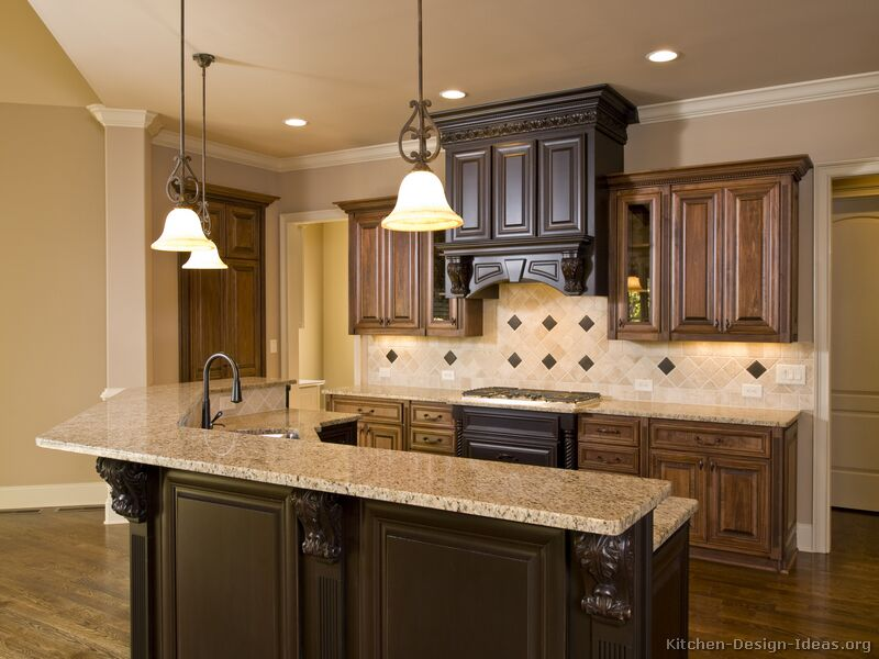 Pictures of kitchens traditional two tone kitchen for Kitchen cupboard renovation ideas