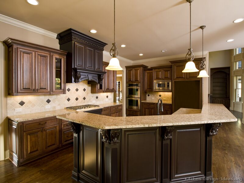 Pictures of kitchens traditional two tone kitchen for Dark wood kitchen ideas