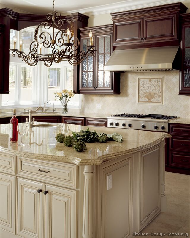Antique kitchens pictures and design ideas for Dark kitchen cabinets light island
