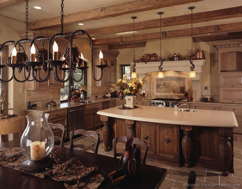 This Warm Country French Kitchen Contains Ornate Wood Carvings Rustic