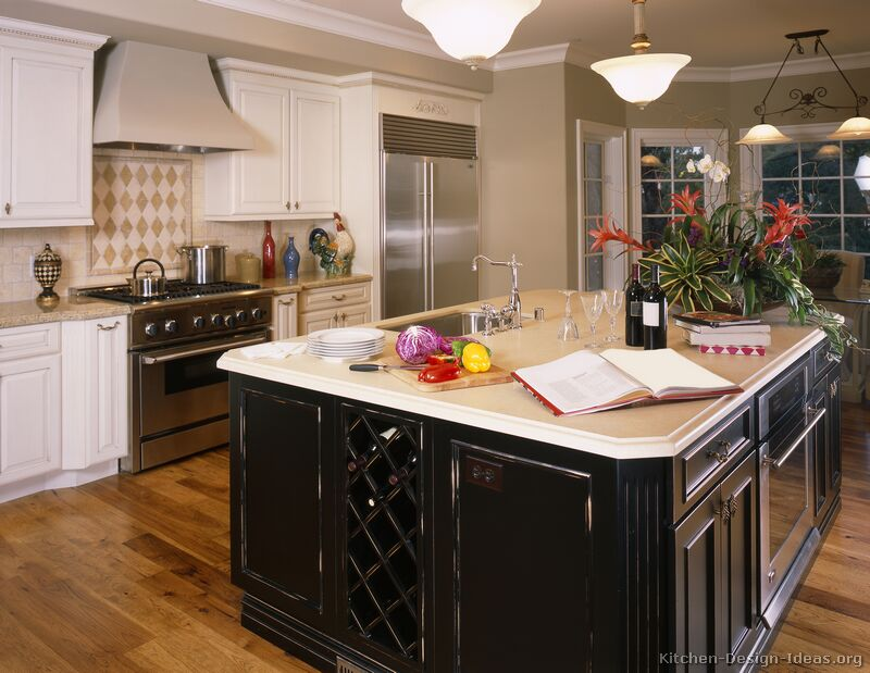 Pictures of kitchens traditional white kitchen cabinets page 7 - White kitchen with dark island ...