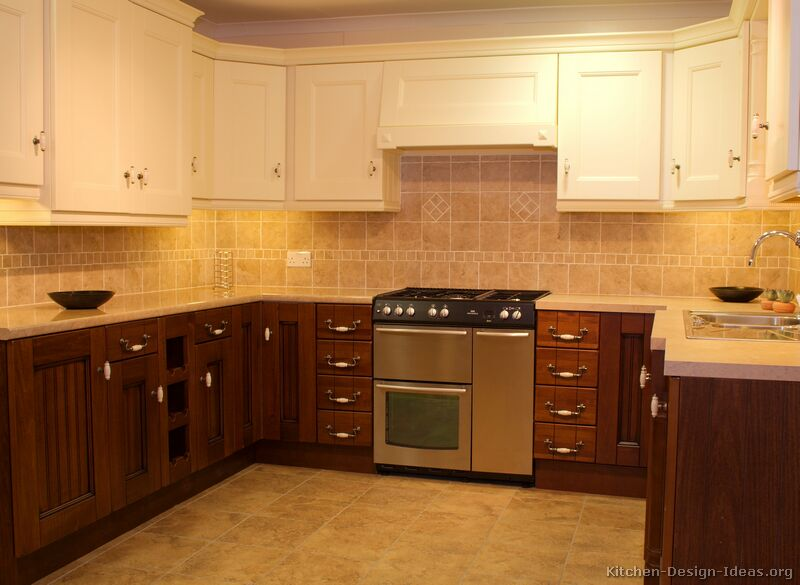 Pictures of kitchens traditional two tone kitchen for Kitchen cabinets ideas images
