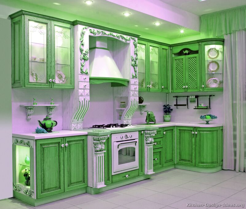 Two Tone Kitchen Cabinets Ideas: Green Kitchen Cabinets