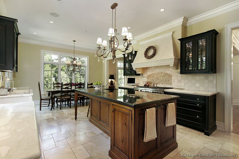 Pictures of kitchens traditional two tone kitchen for Traditional dark kitchen cabinets