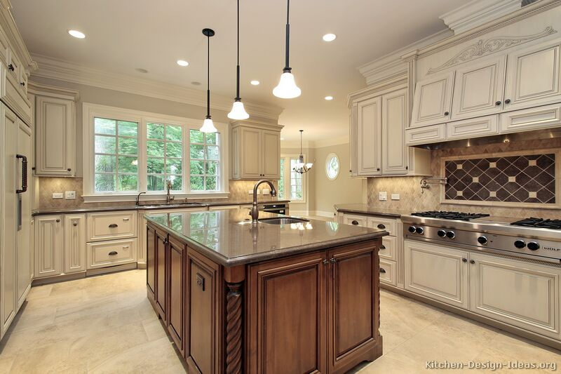 Kitchens traditional dark wood kitchens cherry color page kitchens traditional dark wood - Pictures of off white kitchen cabinets ...