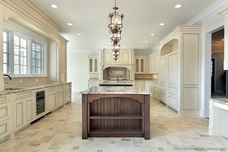 Traditional two tone kitchen cabinets 229 kitchen design for Traditional white kitchen cabinets