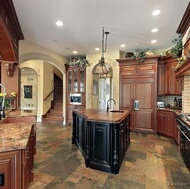 Traditional Medium Wood-Cherry Kitchen