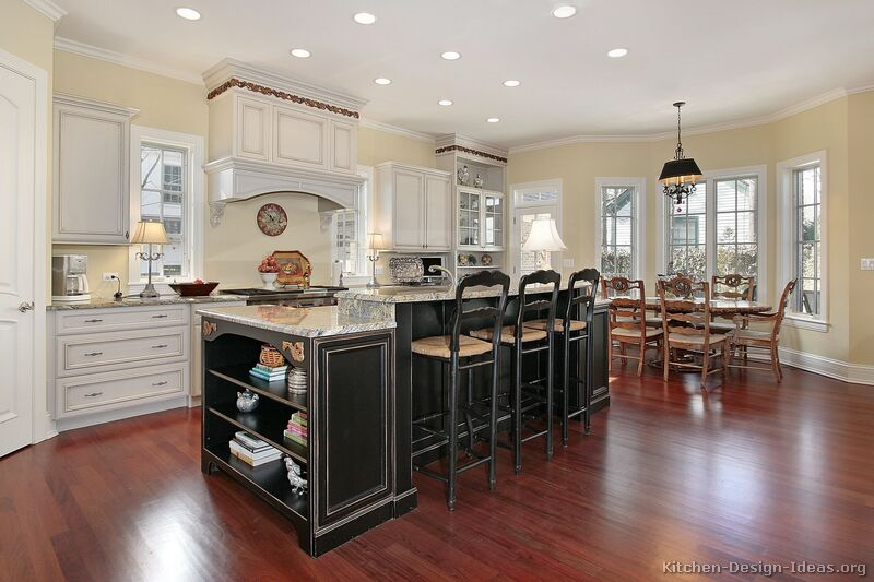 Interesting Traditional White Kitchen With White Kitchen Cabinets With  Painted Island