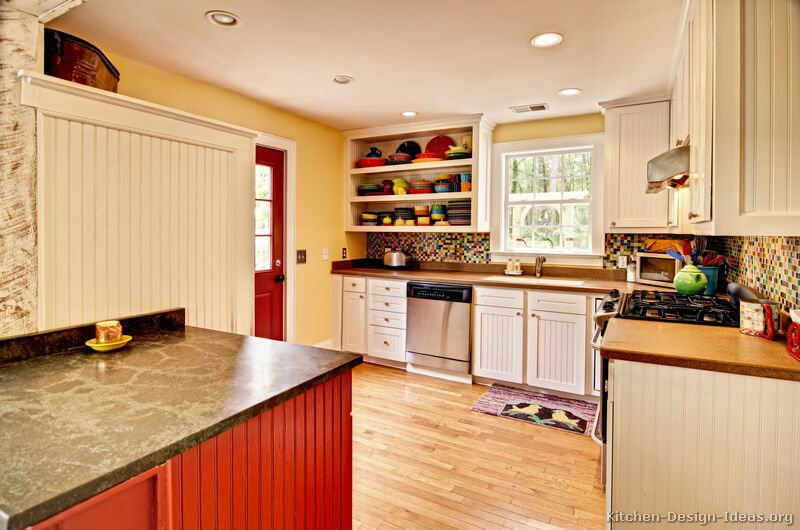 Pictures of Kitchens - Traditional - Red Kitchen Cabinets