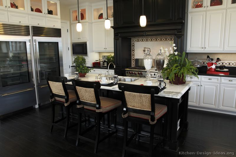 Black and white kitchen designs ideas and photos for Black kitchen cabinet design ideas