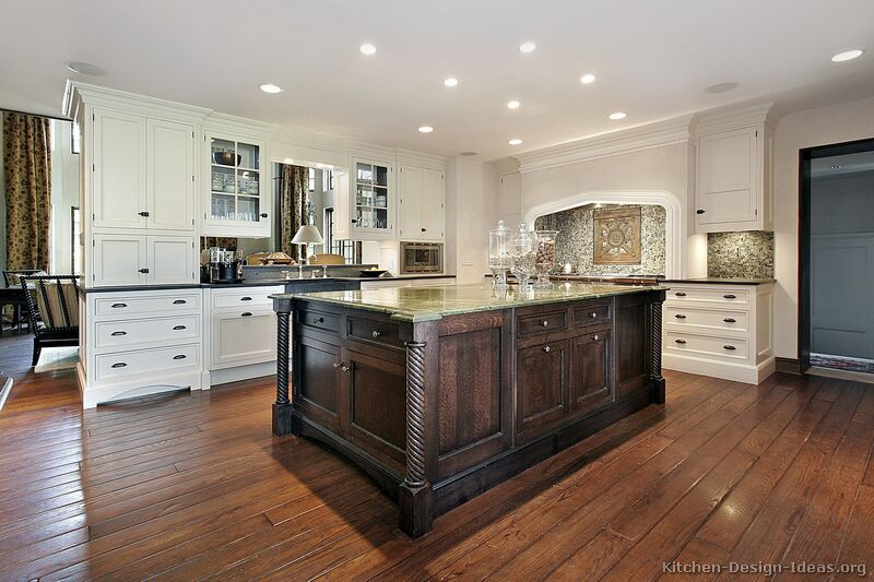 Pictures of kitchens traditional two tone kitchen cabinets page 4 - White kitchen with dark island ...