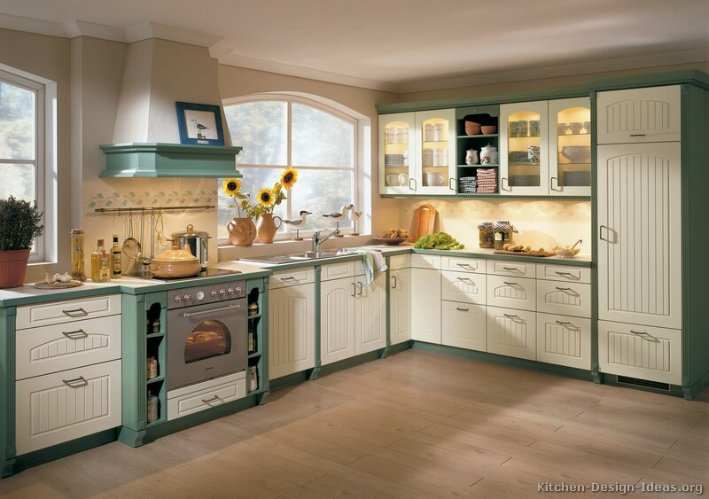 Pictures of kitchens traditional green kitchen cabinets for Kitchen cabinets green