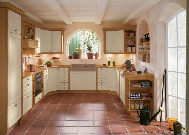 Pictures of kitchens traditional two tone kitchen for White country kitchen ideas