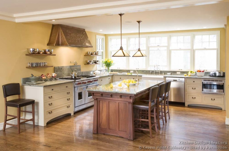 Pictures of kitchens traditional two tone kitchen for Kitchen ideas no island