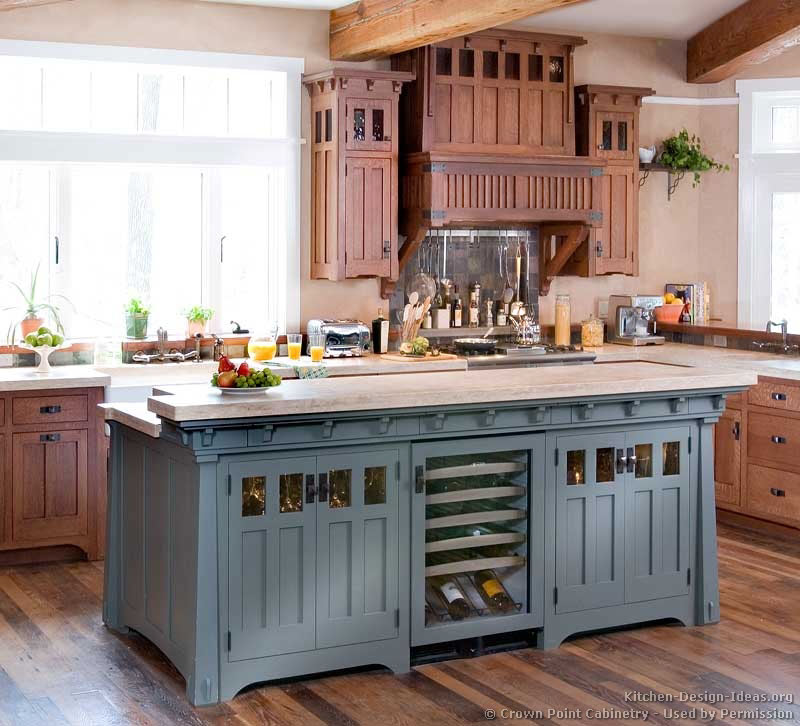 Pictures of kitchens traditional two tone kitchen for Kitchen island with cupboards