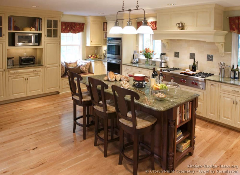 Pictures of kitchens traditional off white antique for Latest kitchen island designs