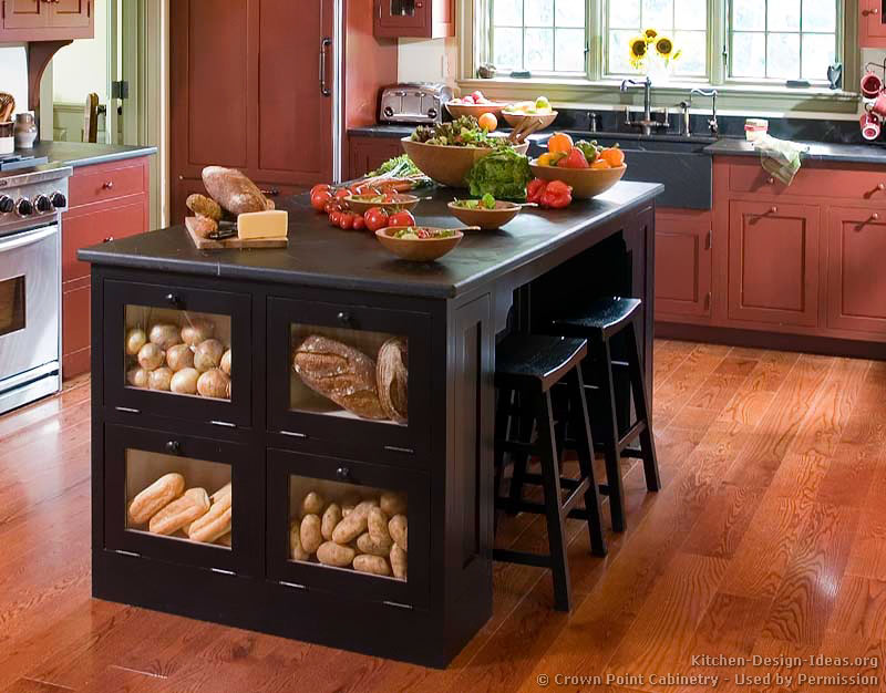 Pictures of kitchens traditional two tone kitchen for Kitchen island designs