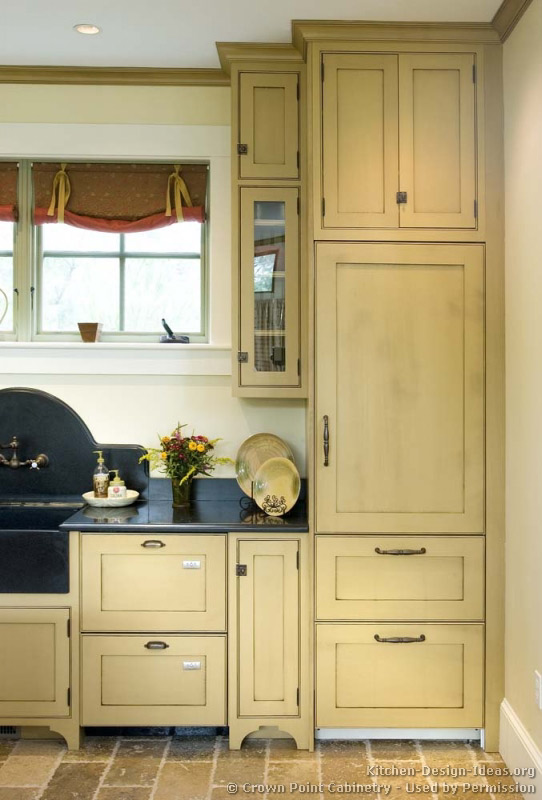 Pictures of kitchens traditional two tone kitchen for Period kitchen cabinets
