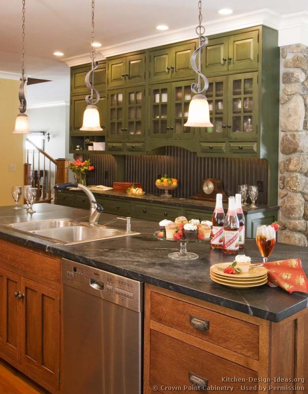 Arts And Crafts Kitchen Design Ideas ~ Pictures of kitchens traditional green kitchen cabinets