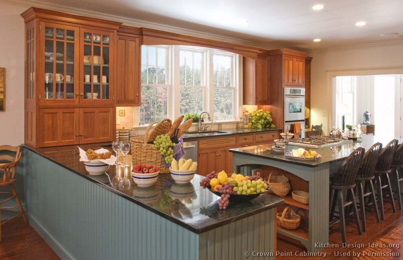 Pictures of kitchens traditional two tone kitchen - Island or peninsula kitchen ...