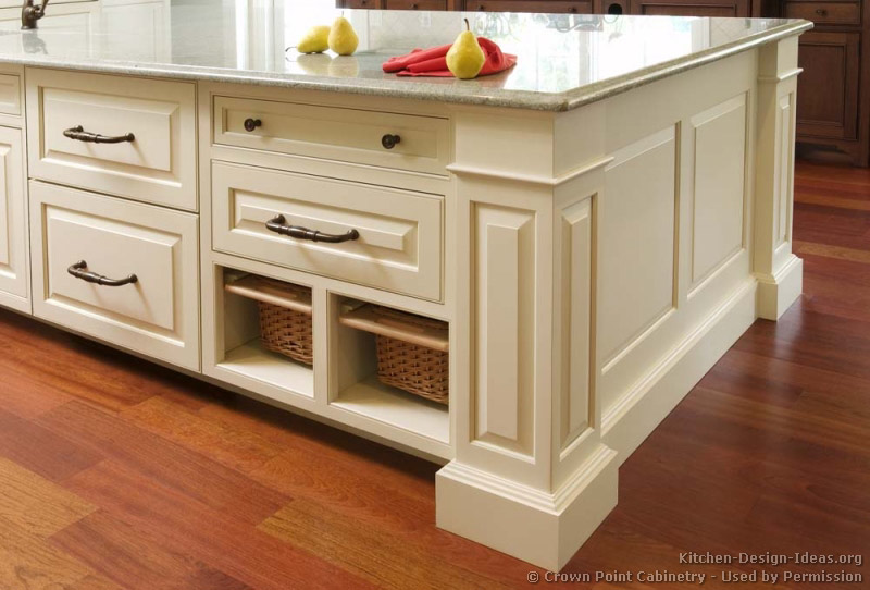 Pictures of kitchens traditional two tone kitchen for Baskets for kitchen cabinets