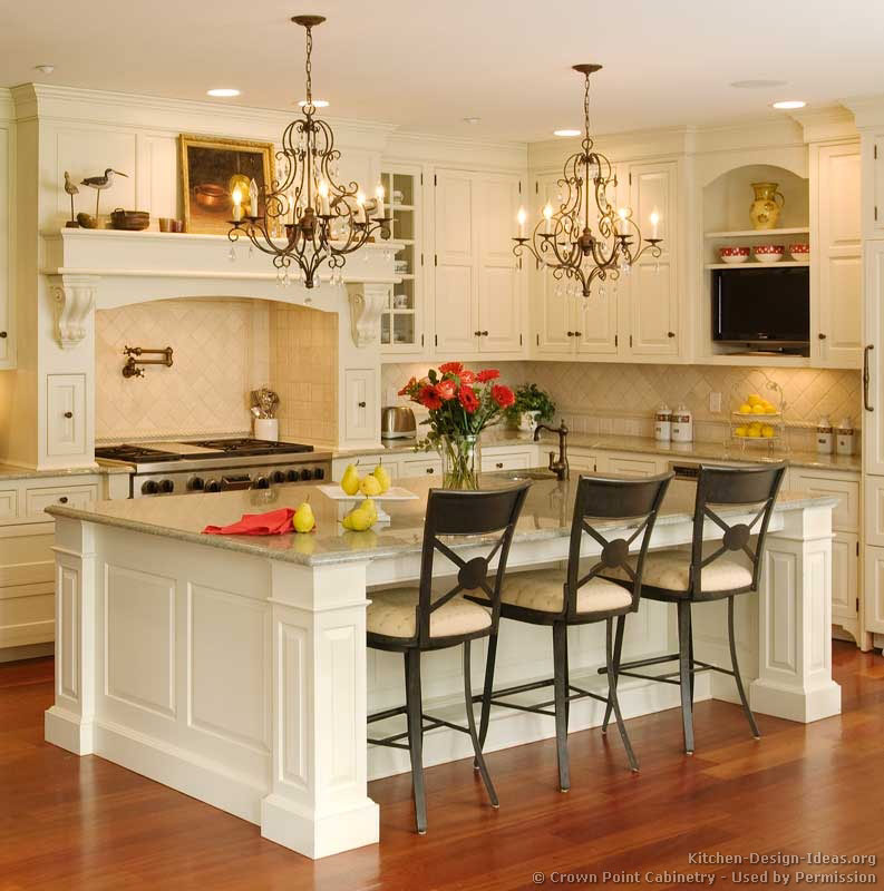 Pictures of kitchens traditional two tone kitchen for Traditional white kitchen cabinets