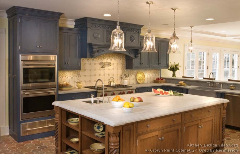 Pictures of kitchens traditional gray kitchen cabinets for Grey and brown kitchen