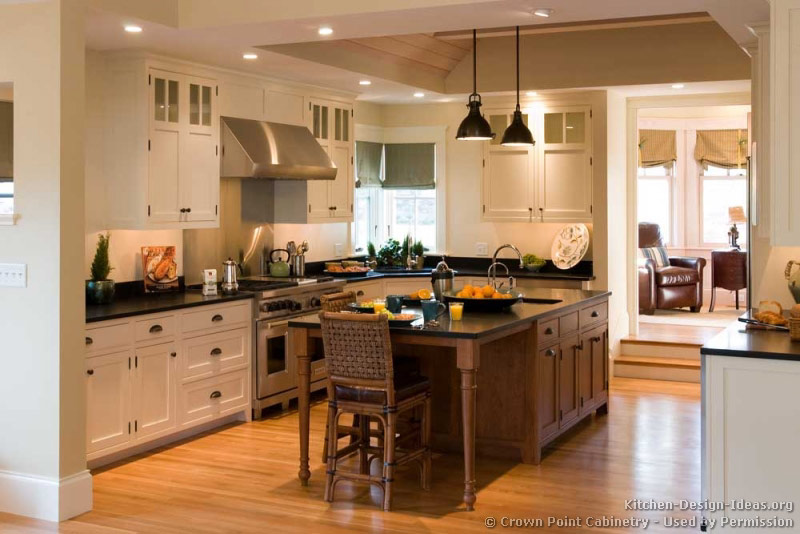 Pictures of kitchens traditional two tone kitchen cabinets page 5 - White kitchen with dark island ...