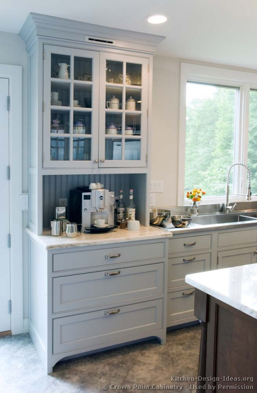 Transitional kitchen design with pale blue shaker style for Built in kitchen hutch designs