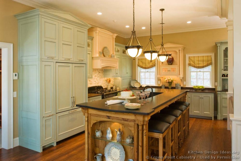pictures of kitchens traditional green kitchen cabinets