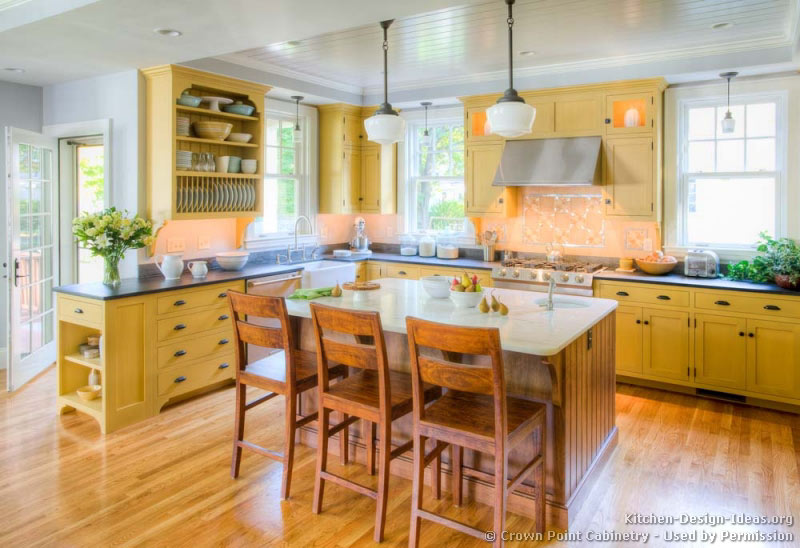 Yellow Kitchen Ideas Part - 24: Traditional Two-Tone Kitchen Traditional Yellow ...