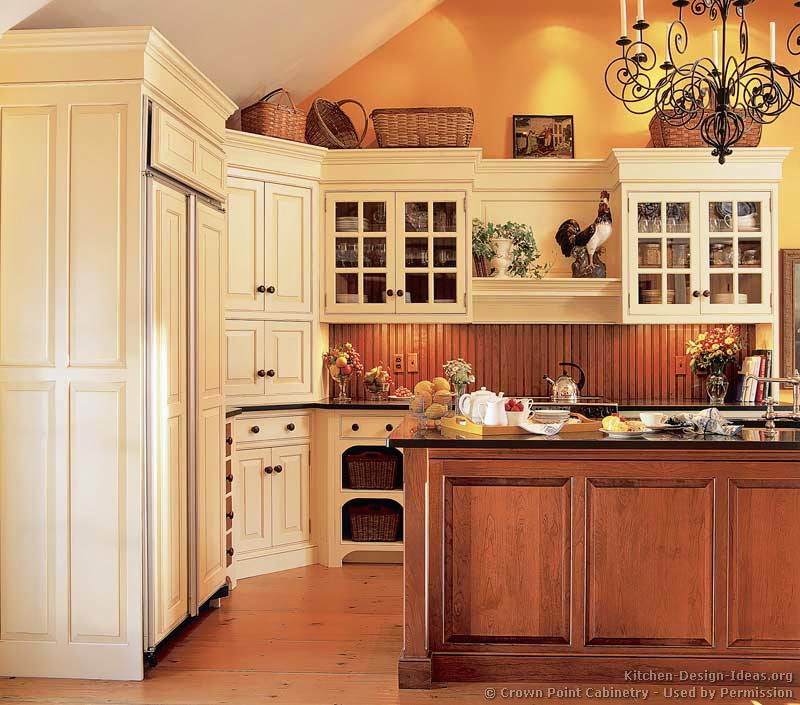 Kitchens with dark wood floors of kitchens for Antique white kitchen cabinets