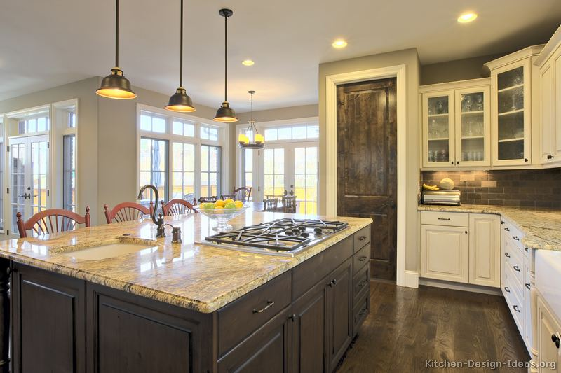 Traditional medium wood golden kitchen cabinets tt10 kitchen design one day - White kitchen with dark island ...