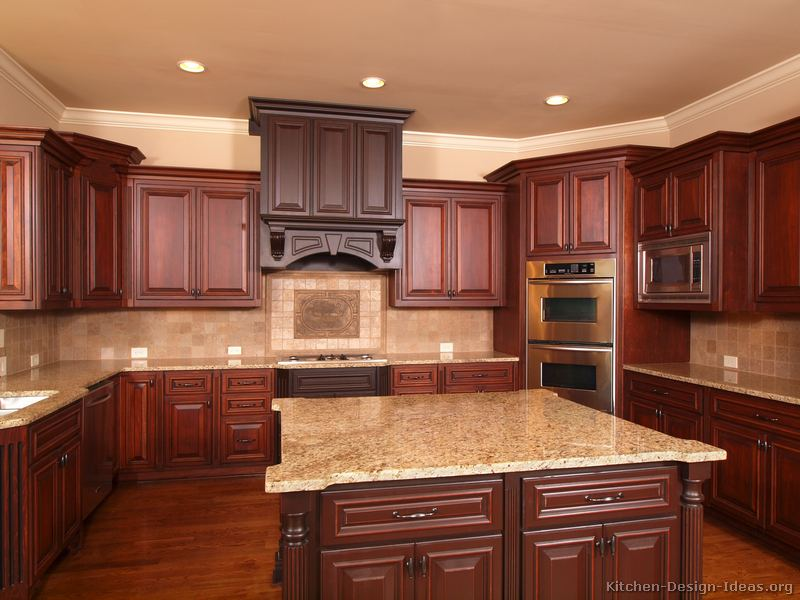 Pictures of kitchens traditional two tone kitchen for Cherry wood kitchen cabinets