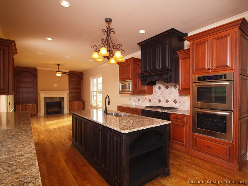 Dark Cherry Color Kitchen Cabinets And Isles Best Home