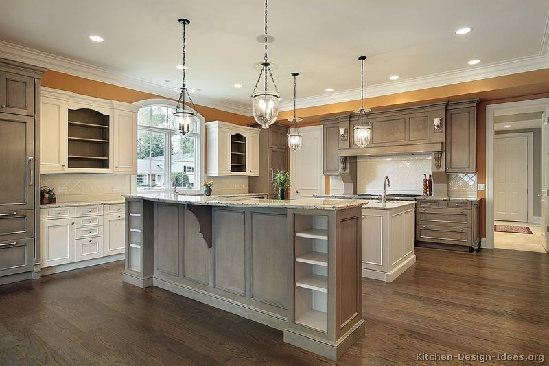 White And Grey Traditional Kitchen pictures of kitchens - traditional - gray kitchen cabinets